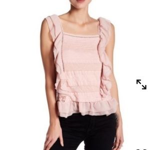Romeo & Juliet Coture Blush Pink Ruffled Lace Top